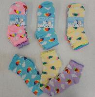 3pr Girl's Anklet Socks 6-8 [Umbrella & Clouds]